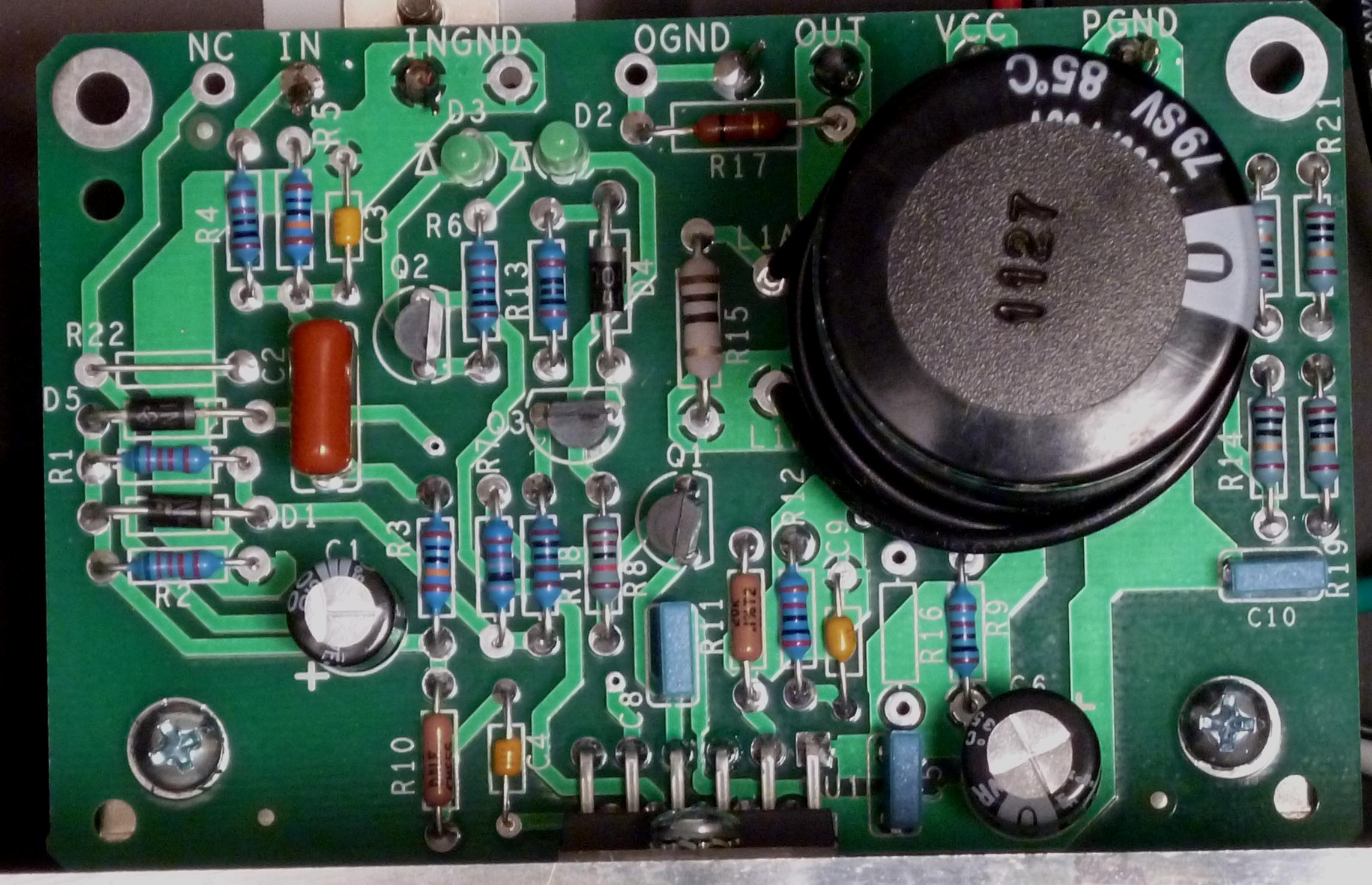 amp pcb assembled closeup
